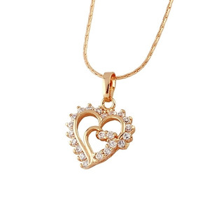 18K022-18 karat Gold plated  Heart shaped pendant embedded with cubic zirconia stones