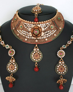 Handmade fashion Designer Indian Wedding semibridal necklace set with Emerald,Ruby,clear stones