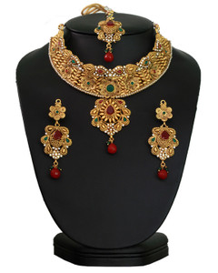 Indian  Traditional Bollywood Style Fashion Necklace Emerald Gold Plated Bridal Jewelry Set