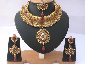 Indian Ethnic Style Bollywood Gold Plated Wedding Ruby Fashion Jewelry Necklace Set