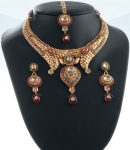 Indian bollywood Polki kundan Gold Plated bridal Necklace earrings jewelry