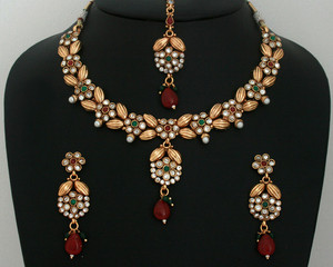 Ethnic Indian Bollywood Style designer fashion Gold Plated polki Jewelry Set