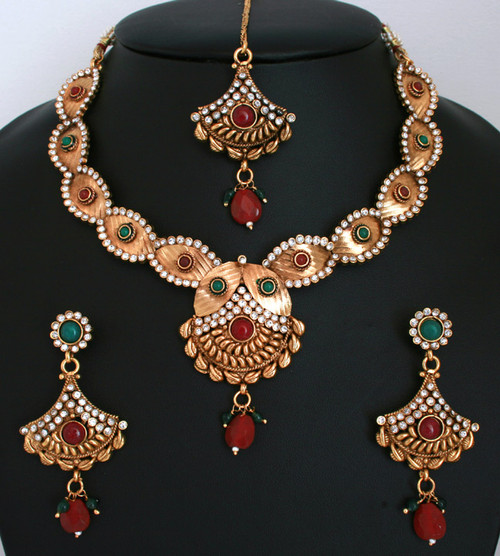 Indian Jewellery And Clothing Polki Necklace Sets From: Ethnic Indian Fashion Polki Jewelry Bollywood Gold Plated
