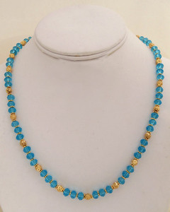 Womens costume jewelry necklace with blue beaded