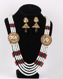 Indian Imitation Costume Pearl Rajwadi Necklace Set
