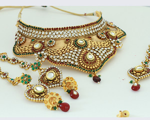Bollywood Designer Indian Wedding Bridal Party Wear Fashion Jewelry Necklace Set-Bridalgold1