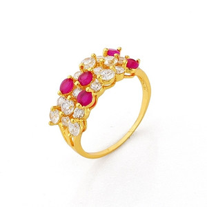18K Gold plated with Fuchsia and Cubic Zirconia Accents Ring