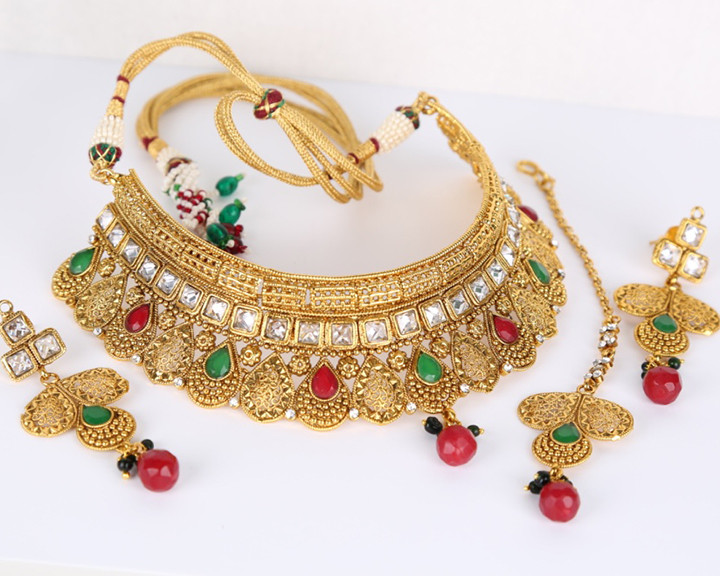 Handmade fashion Designer Indian Wedding bridal necklace jewelry set
