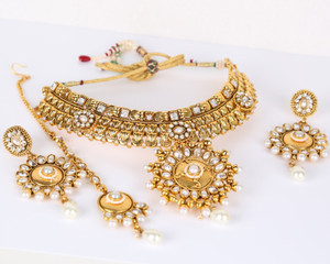 Indian Bollywood Style Ethnic Wedding Necklace with White CZ Gold Plated Bridal Jewelry Set