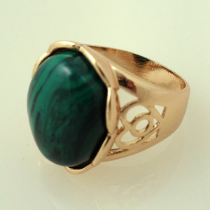 18K Gold plated with Large Green Stone Ring