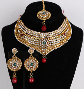 Indian designer bollywood ethnic wedding Bridal gold plated Emerald,White CZ 3 pcs jewelry set