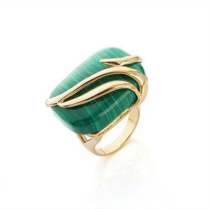 18K Gold plated Emerald Ring