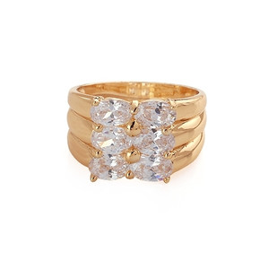 18K Gold plated with  Clear Stones Accents Ring.