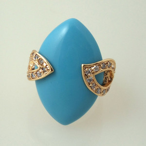 18K Gold plated with Large Marquis shaped Turquoise Stone Ring