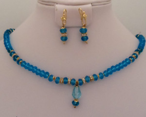 Trendy fashion blue beaded costume jewelry necklace for women