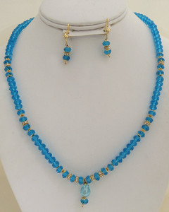 trendy fashion blue beaded necklace-BDD11