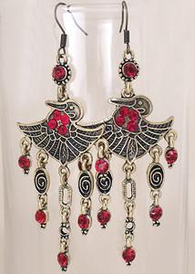 Red Crystal chandelier earrings
