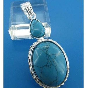 GEM003-Sterling Silver Oval and Pear Cut Turquoise Cabochon  Gemstone Pendant