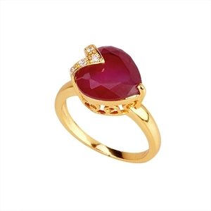 18K Gold plated with Heart shaped Fuschia stone Accents Ring