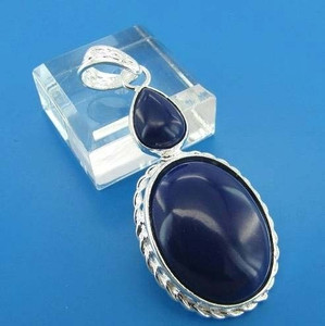 GEM002-Sterling Silver Oval and Pear Cut Sapphire Blue Cabochon Gemstone Pendant