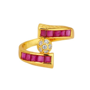 18K Gold plated with Fuchsia and cubic zirconia Accents Ring 1011RNG5