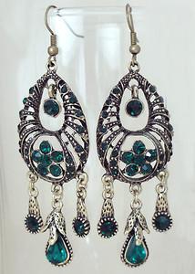 Indian designer fashion Emerald crystal Chandelier Earrings-00EAR5