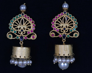 Emerald,Ruby Jhumka Earrings