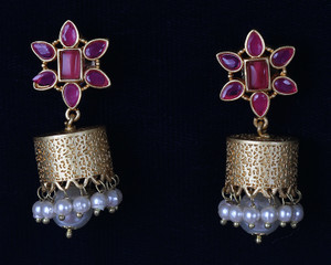 Dark Pink Jhumpa Earrings