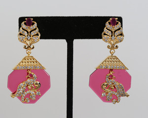 Vintage Rose Designer Drop Earrings Bollywood Jewelry for Women and Girls