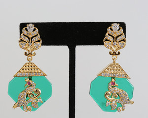 Vintage Emerald Designer Drop Earrings Bollywood Jewelry for Women and Girls