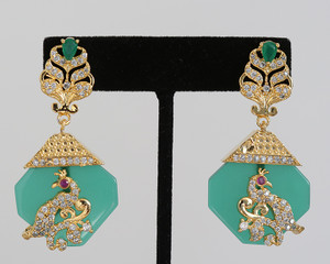 Vintage Emerald green Designer Drop Earrings Bollywood Jewelry for Women and Girls