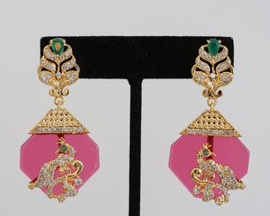 Vintage Rose Designer Drop Earrings Bollywood Jewelry for Women and Girls from India