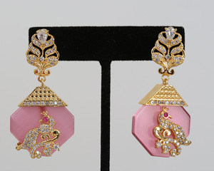 Vintage Rose Indian Designer Drop Earrings Bollywood Jewelry for Women and Girls