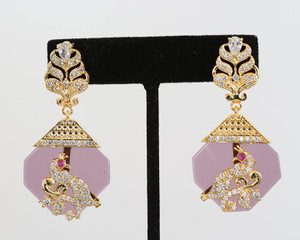 Vintage violet Designer Drop Earrings Bollywood Jewelry for Women and Girls