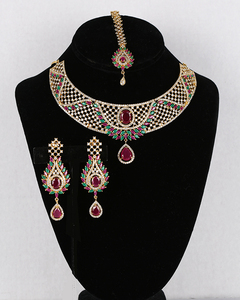 Bridal Jewelry Set Necklace & Chandelier Earrings Gold Plated with Ruby,Emerald and Clear CZ American Simulated Diamonds