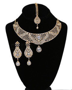 Bridal Jewelry Set Necklace & Chandelier Earrings Gold Plated with Clear CZ American Simulated Diamonds