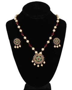 Traditional Party wear Indian Fashion Ruby Red Beaded Round Pearl Pendant Earrings Set