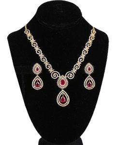 American Diamond Ruby Red CZ Zircon Fashion Jewelry Set Necklace Earrings for Women