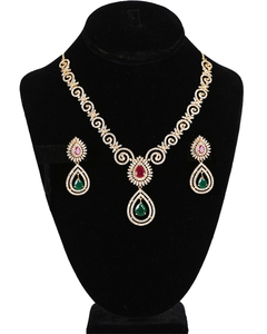 American Diamond Ruby Red and Emerald CZ Zircon Fashion Jewelry Set Necklace Earrings for Women