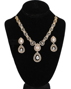 American Diamond White CZ Zircon Fashion Jewelry Set Necklace Earrings for Women