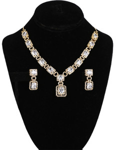 Sparkling American Diamond Clear CZ Gemstone Fashion Jewelry Set Necklace Earrings for Women