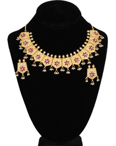Stunning Eye Catching Gold Plated Polki Kundan Party Wear Necklace Set with Ruby gemstones and Pearls