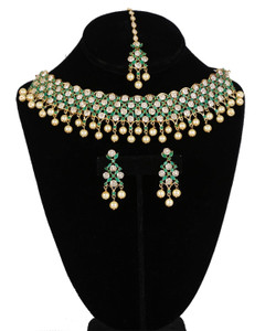 American Diamond bridal necklace set synthetic Emerald,Clear stones and faux pearls with matching Tikka