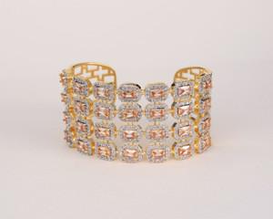 Gold Tone with Topaz Rhinestones Bangle Cuff Bracelet