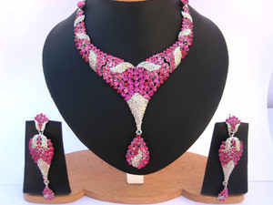 Designer fashion jewelry with ruby red stones