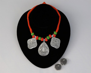 Orange Threaded German silver Necklace with Jhumka Earrings