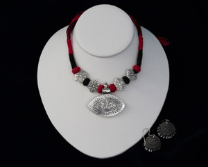 Pink,Black Threaded German silver Necklace with Jhumka Earrings