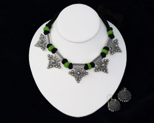 Green,Black Threaded German silver Necklace with Jhumka Earrings
