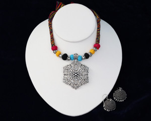 Multicolor thread oxidised german silver flower pendant and earrings