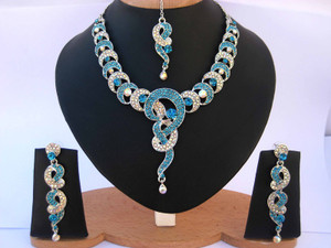 Beautiful Indian Fashion Jewelry necklace set with Aquamarine Blue CZ stones-CZ114